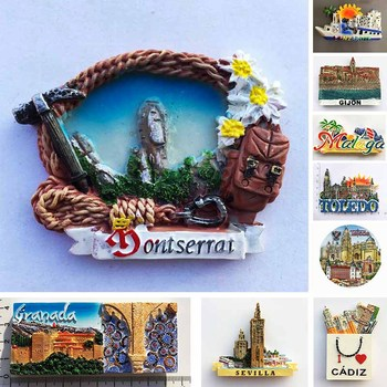 Spanish Fridge Magnets Toledo La Catedra Cathedral Malaga Montserrat Magnetic Refrigerator Stickers Tourist Souvenirs Idea Gifts bastei bridge germany landscape 22541 landscape magnetic refrigerator gifts for friends travel souvenirs