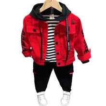 2020 nowych moda chłopców ubrania zestaw wiosna jesień kurtka dżinsowa dla chłopców dziewcząt odzież dziecięca maluch dżinsy dla dziecka znosić płaszcze tanie tanio BONJEAN COTTON List REGULAR Z kapturem Kurtki płaszcze Pełna Pasuje prawda na wymiar weź swój normalny rozmiar Heavyweight