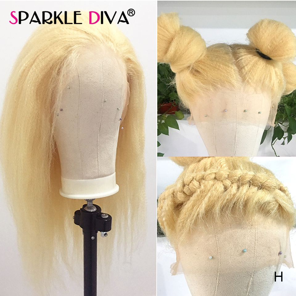 Glueless 613 Blonde Lace Front Human Hair Wigs Kinky Straight Brazilian Lace Wig 150 Remy Hair 13x4 Honey Blonde Lace Front Wig image