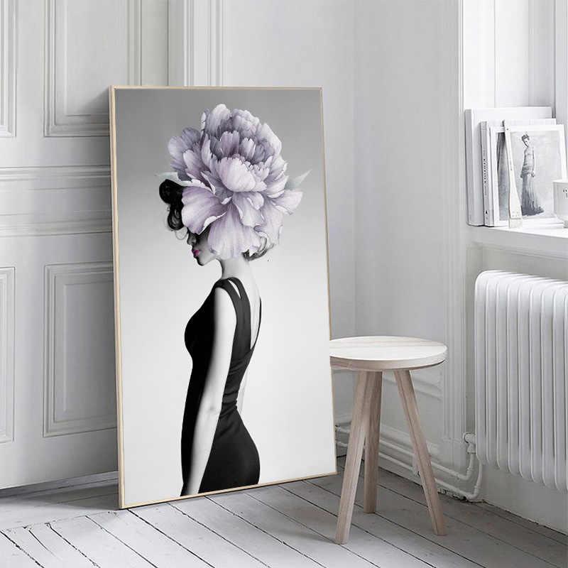 Nordic Sexy Delle Ragazze di Fiore Astratta Poster Art Nudo Donne Nude Piuma Figura Pittura Della Tela di canapa Immagini A Parete per Living Room Decor