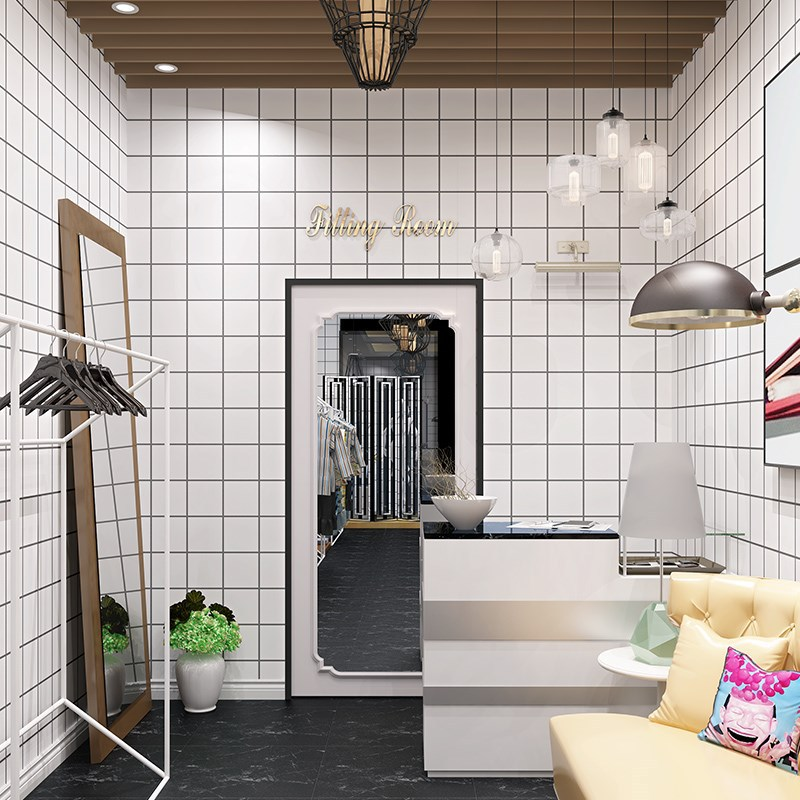 Northern European-Style Black And White Grid Red Wallpaper Clothing Store Tile Dormitory Decoration Students Grid Wallpaper