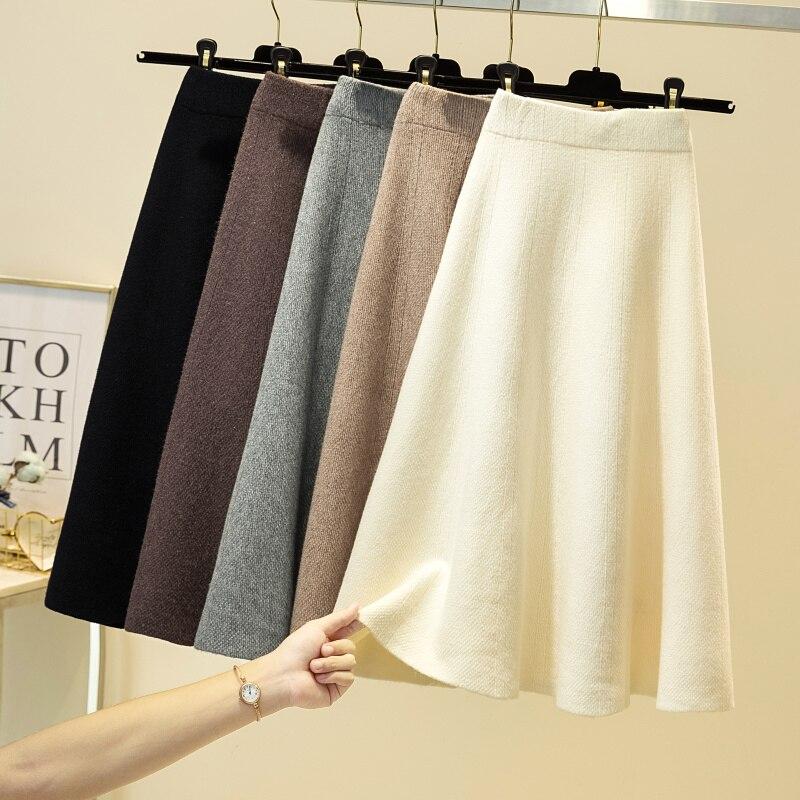 Зимняя шерстяная трикотажная юбка для женщин 2020 осень средняя длина Высокая талия А-линия Трикотажная хлопковая Ретро тонкая плиссированн...