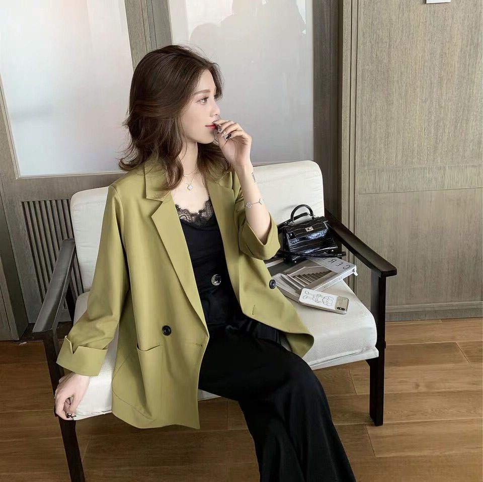Korean Stylish Ladies Blazer Solid Green Casual Loose Suit Jacket Simple Veste Blazer Office Spring Women Blazer New MM60NXZ