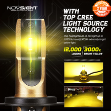 NOVSIGHT 3000K H4 LED H7 H11 H8 HB4 H1 H3 HB3 H13 HB5 السيارات سيارة العلوي لمبات 72W 12000LM سيارة التصميم led automotivo