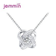 цена на Top Vendor New Design Cubic Zirconia Pendants Necklaces For Women 925 Sterling Silver Charm Chain Necklace Women Jewelry Collar
