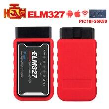 Мини ELM327 WiFi/Bluetooth V1.5 PIC18F25K80 чип OBDII диагностический инструмент IPhone/Android/ПК ELM 327 в 1,5 Автосканер считыватель кодов