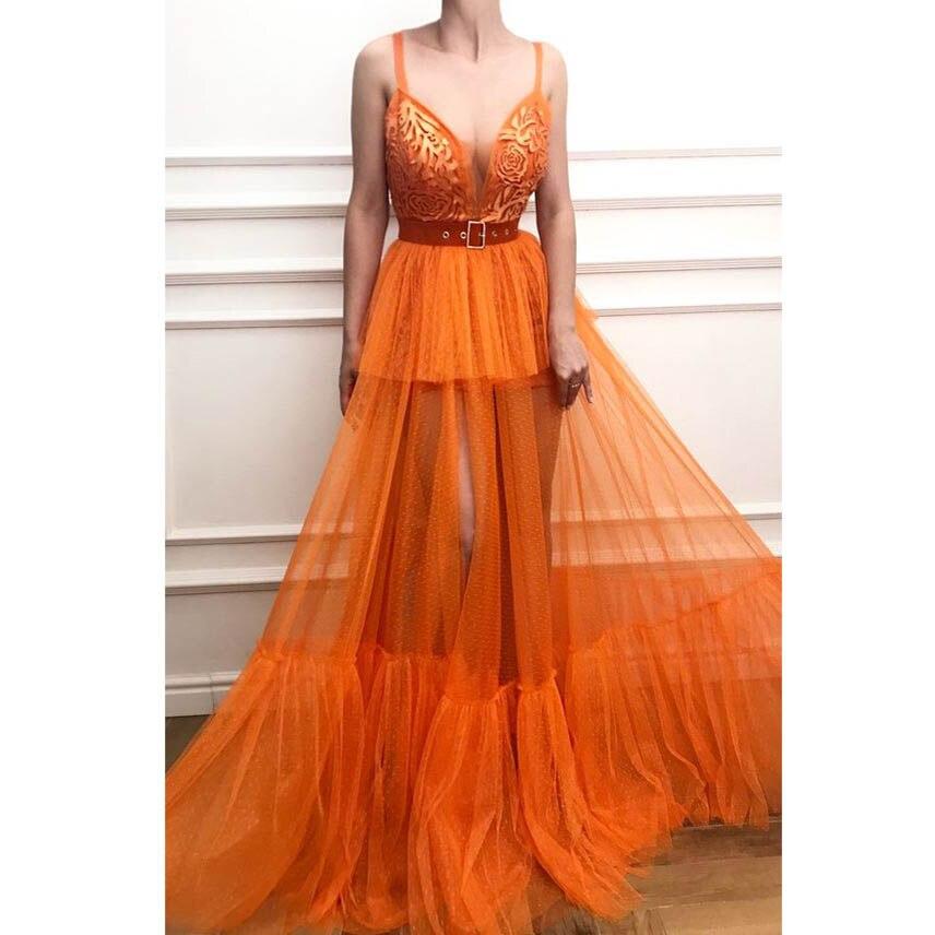 Robe transparente nue Orange voir à travers Sexy Robe de soirée Spaghetti sangle Tulle longues robes de bal Robe de soirée pas cher pas de ceintures