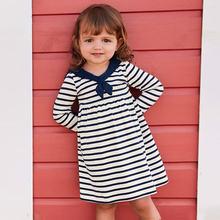 Весеннее платье с матросским воротником для маленьких девочек