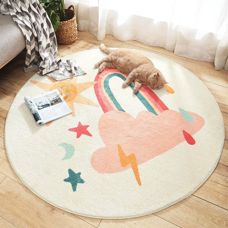 Bande dessinée ronde enfants chambre tapis agneau cachemire maison salon antidérapant tapis canapé Tatami chevet tapis bébé ramper tapis