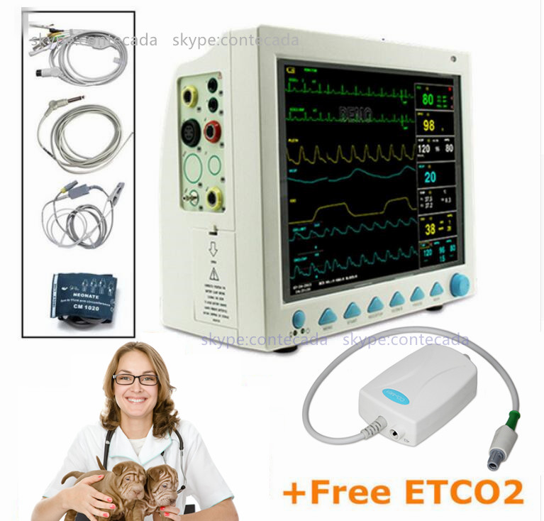 CMS8000 VET Veterinary Patient Monitor Capnograph Vital Signs 7 Parameter +ETCO2 ICU