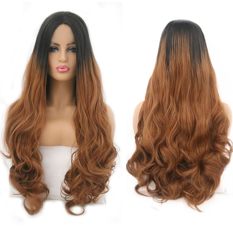 RONGDUOYI Ombre Brown Wigs Long Wave Synthetic Lace Front Wig for Women Heat Resistant Natural Hairline Middle Part Woman Hair