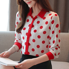 Korean Fashion Woman Chiffon Blouses Shirt Elegant Women Dot Plus Size Shirts Womens Tops and
