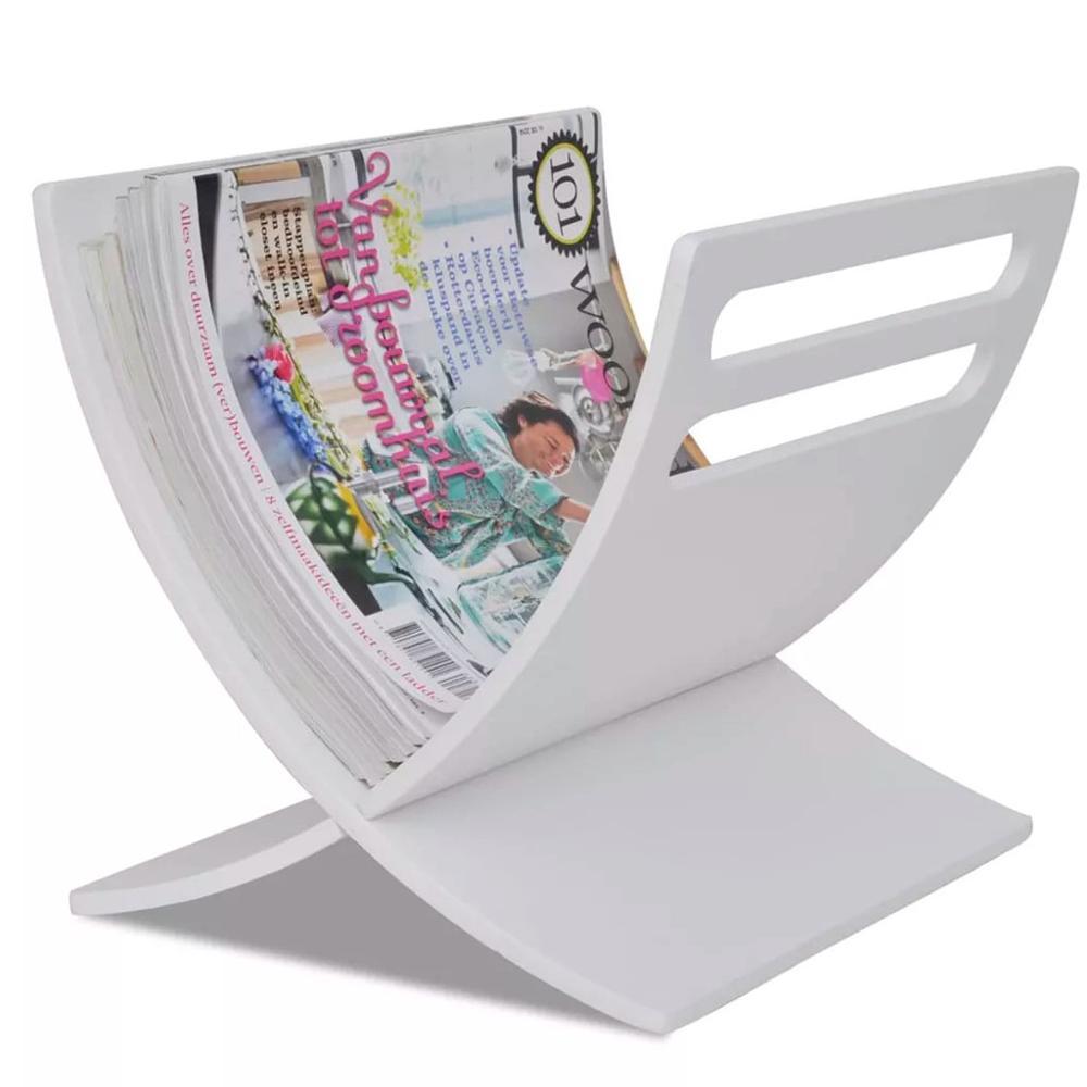 vidaXL Floor Standing Wooden Magazine Rack White Simple Design Shelf Bookshelf Magazine Holder For House Decoration Object