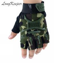 Новинка, От 4 до 13 лет, детские перчатки с половинными пальцами, детские Нескользящие варежки, спортивные, без пальцев, дышащие, камуфляжные, Guante, для мальчиков и девочек, Luvas S/M