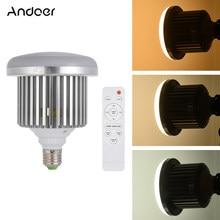 Andoer e27 50w lâmpada led brilho ajustável & temperatura de cor 3200k ~ 5600k com controle remoto estúdio foto vídeo luz