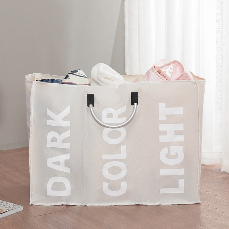 3 Sections Large Laundry Hamper Bag Collapsible Foldable Fabric Washing Clothes Sorter Storage Bag 66CY