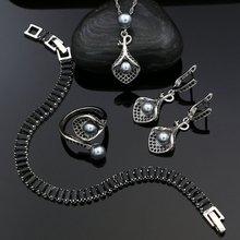 Женский комплект украшений из серебра 925 пробы серые жемчужные