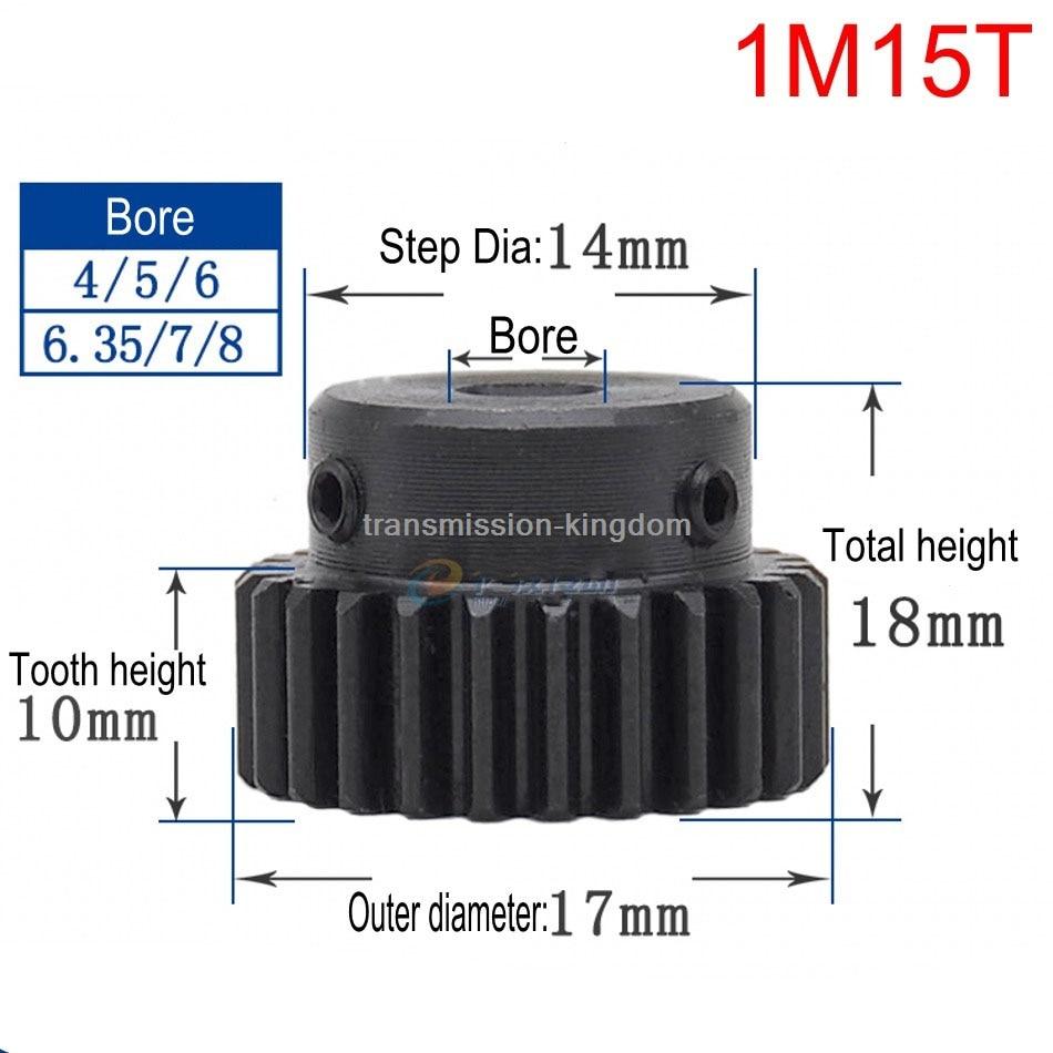 1Pcs 1Modulus Spur Gear 15 Teeth To 18 Teeth Metal Motor Pinion Convex Gear Rack bore 4/5/6/6.35/7/8/10mm Transmission