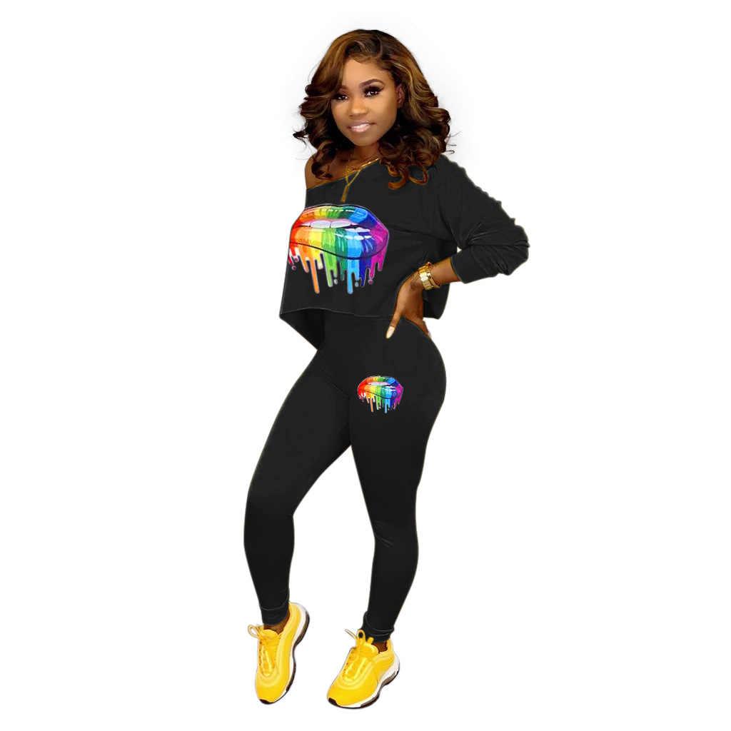 2019 秋冬口プリント女性のセットクロップトップ鉛筆パンツスーツ 2 点セットスポーツウェアファッショントラックスーツの衣装