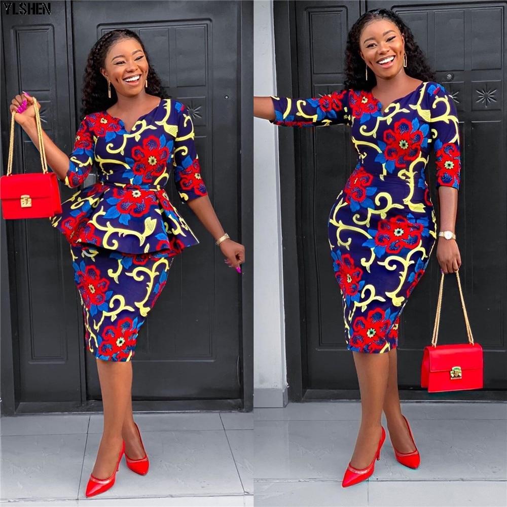 African Dresses For Women 2 Piece Set Dashiki Print Africa Dress African Clothes Bazin Broder Riche Fashion Robe Africaine Femme