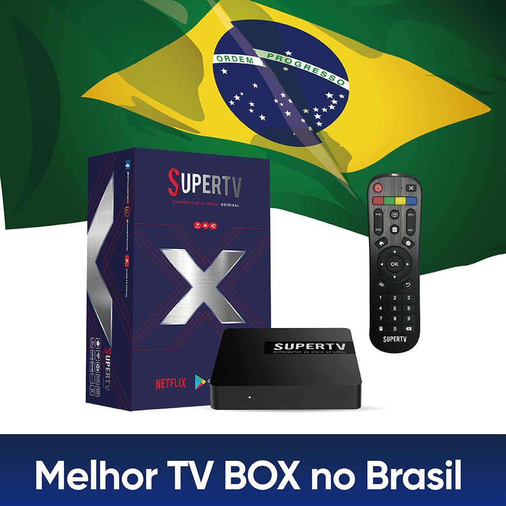 Supertv 블루 X TV 박스 EPG 재생 브라질 TV 박스 어린이 보호 암호 안정적인 안 드 로이드 4K 상자 Supertv HD TV 상자