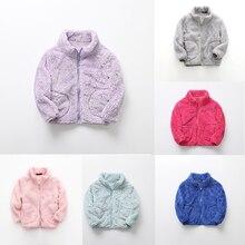 От 3 до 7 лет; сезон осень-зима; детское шерстяное пальто для маленьких девочек; флисовая одежда; однотонная детская верхняя одежда кораллового цвета на молнии для маленьких девочек