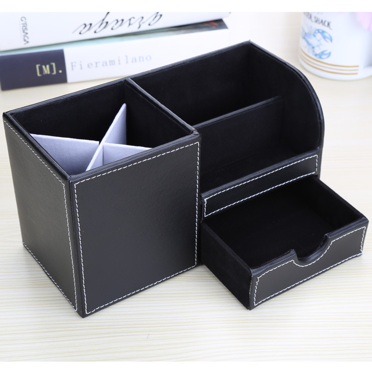 Manufacturers Customizable Business Office Leather Pen Container Multi-functional Desktop Stationery Storage Box Creative Gifts
