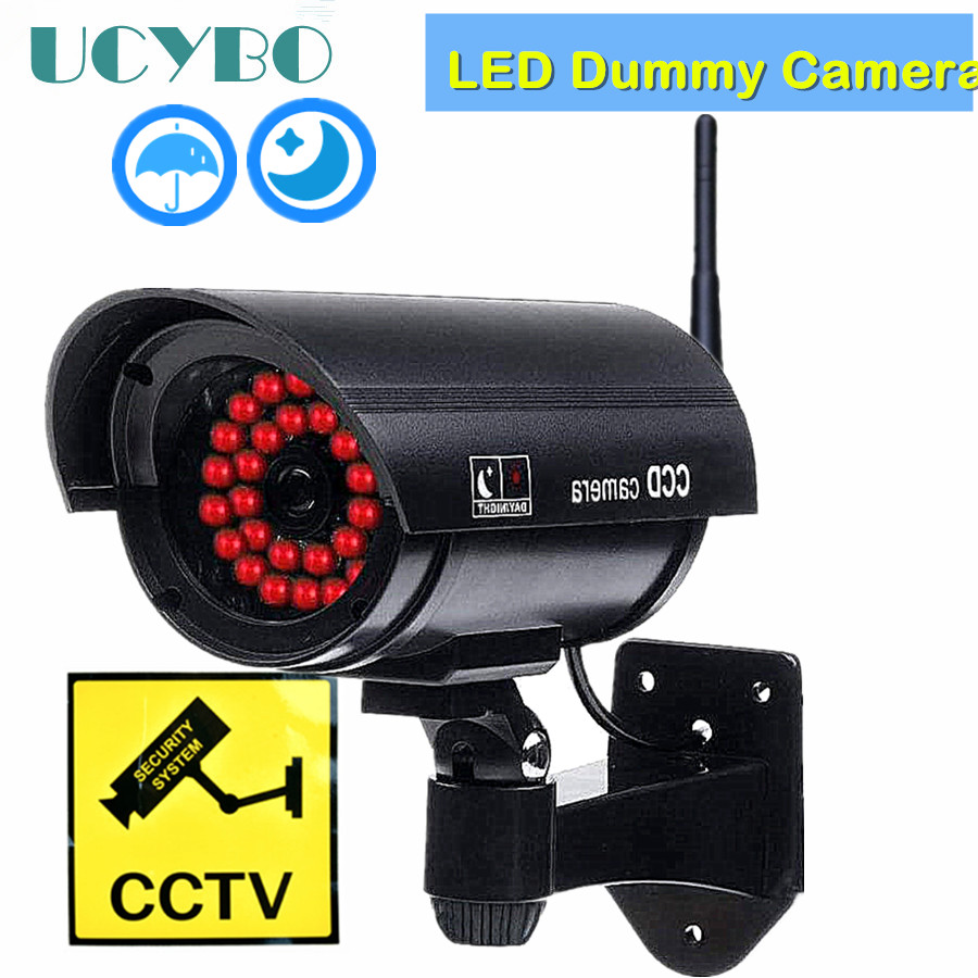 2X Fake Dummy Simulated Decoy SECURITY CAMERA Surveillance CCTV Red Flashing LED