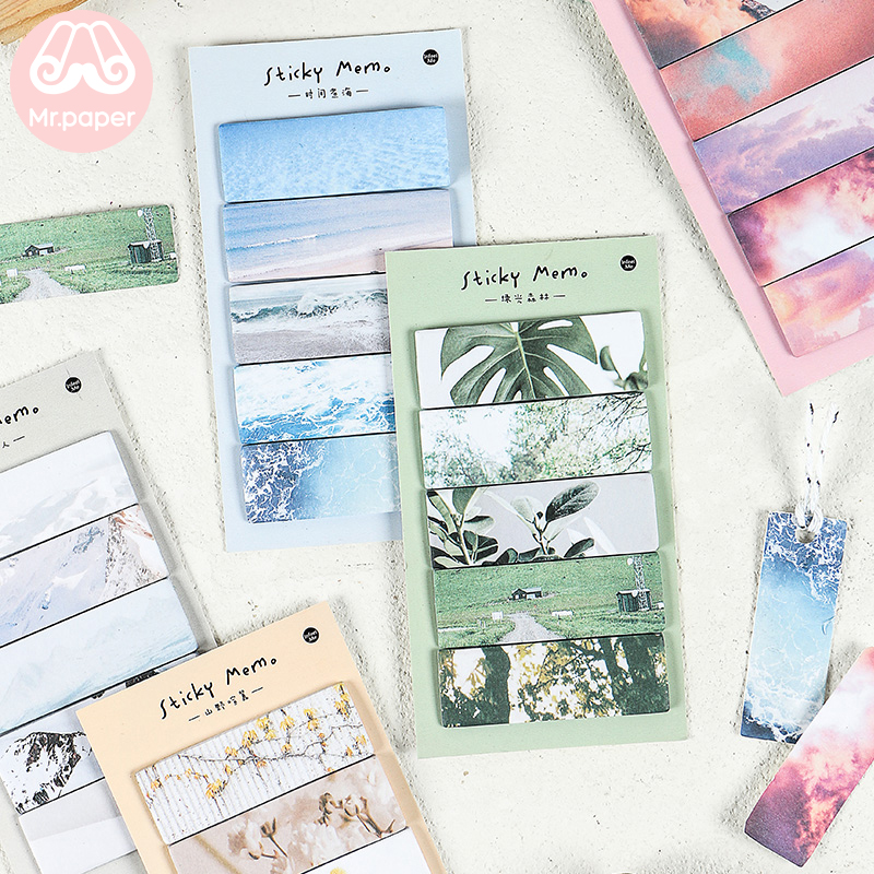 Mr Paper 100pcs/lot 6 Designs Girlish Ins Style Beautiful Scenery Stubble Memo Pads Take-away Tape Self-Stick Note Memo Pads