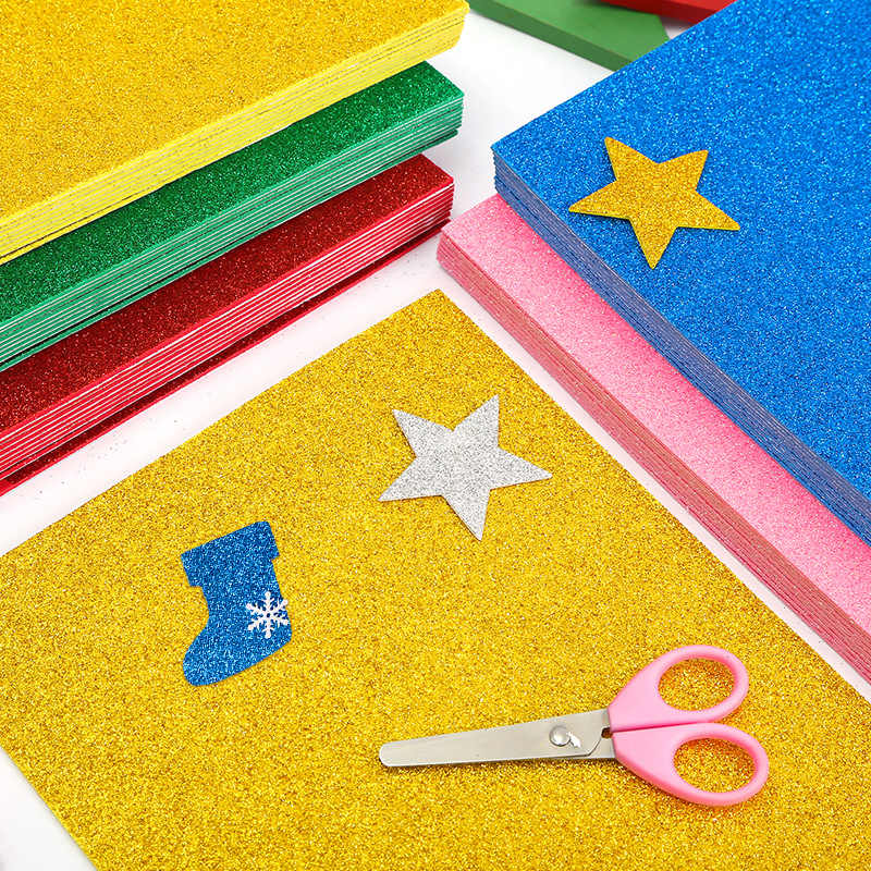 5 Fogli/Sacchetto Foamiran Spugna Glitters Schiuma di Carta 20X30 Cm Carta Artistica E per Hobby Oro Spong Polvere di Carta di Carta Fatta a Mano artigianato Decorazione Regalo Fai da Te