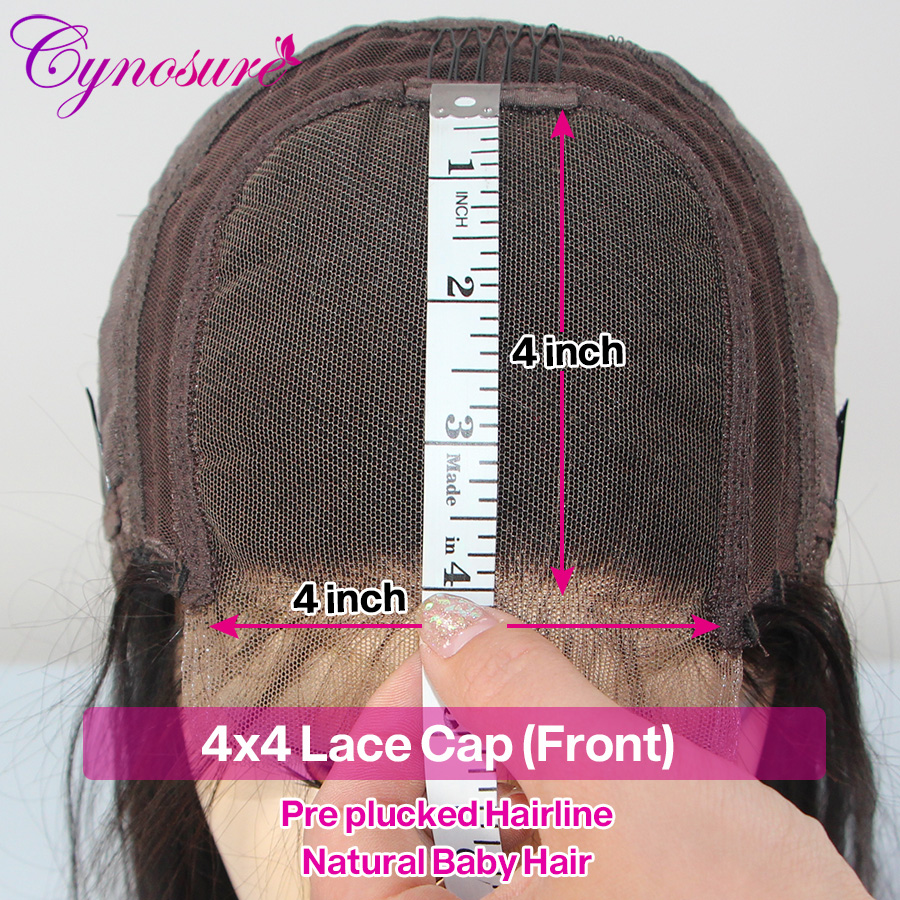 Hb05ebc99a7e241eb96cff33d8f8e82385 Cynosure 4x4 Straight Lace Closure Wig Brazilian Lace Closure Human Hair Wigs Pre-Plucked with Baby Hair Remy