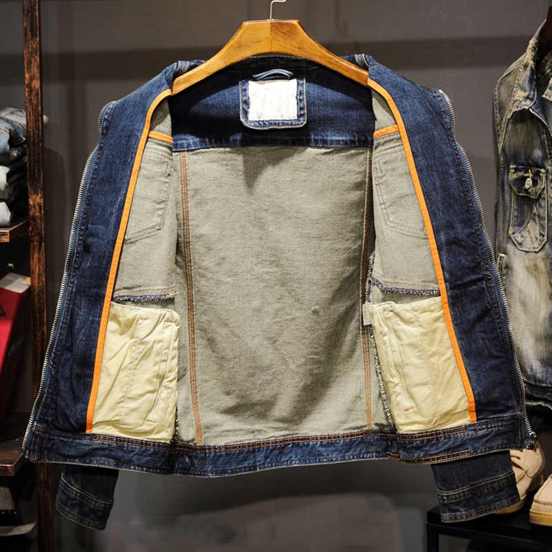 Męskie kurtki jeansowe Vintage staromodny Automotive jeansowa kurtka dla mężczyzn dorywczo męskie kurtki jeansowe Plus rozmiar 3XL C2086