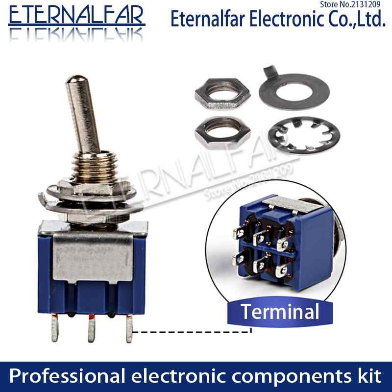 SPDT Menempel Toggle Switch 6A 125V MTS-102 103 MTS-202 203 3A 250 AC Mini 3 6PIN ON-ON ON-OFF-ON Rocker Switch Lampu Motor