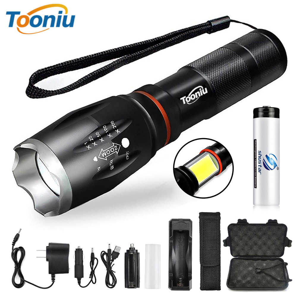 Glare LED Flashlight COB Side work light Zoomable LED Torch 6 lighting modes Tail magnet Adsorbable For camping, cycling, etc.