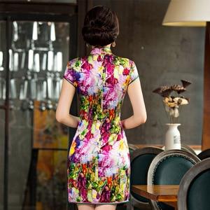 Image 3 - 2019 Summer, New Short High Split Printed Pure Silk Cheongsam Collar Show Thin National Wind Qipao Dress Factory Direct Sale
