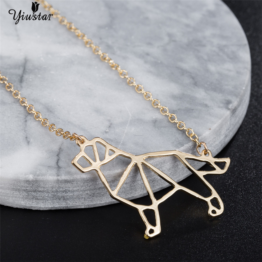 Yiustar Origami Bull Terrier Necklace Gold Color Pendant Necklace Beautiful Animal Stainless Steel Choker For Men Birthday Gift