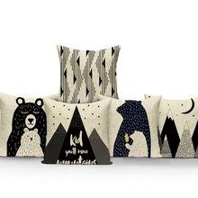 Cotton Linen Pillow-Cover Sofa Room-Decoration Lion Animal 45x45/40x40cm Cute Bear Car