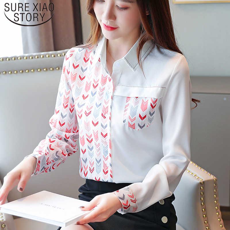 Elegan Cetak Lengan Panjang Kemeja Sifon Korea Fashion Pakaian Turn-Down Kerah Kantor Wanita Pakaian Wanita Top Kemeja 7451 50