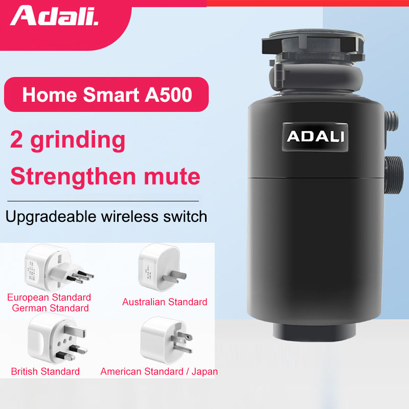 ADALI 500W Kitchen Food Garbage Processor High Horsepower Copper Motor Air Switch Food Waste Disposer Grinder Kitchen Appliances