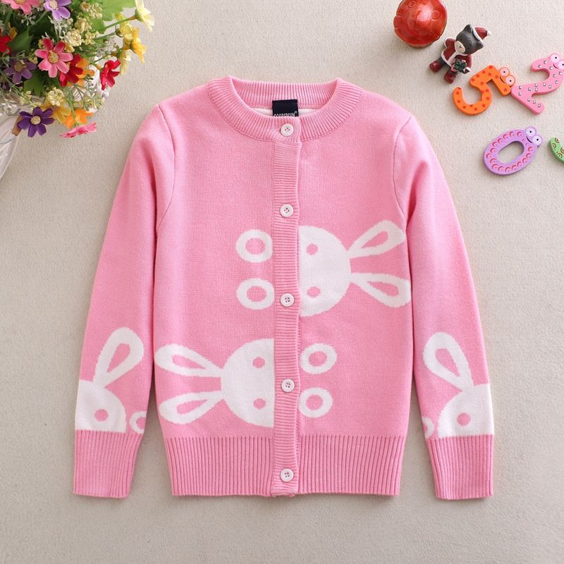2019 Autumn Clothing New Style Korean-style GIRL'S Cardigan Sweater Coat Children Double Layer Baby Sweater A Generation Of Fat