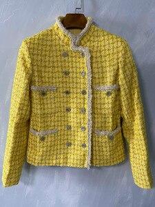 Image 3 - CH009 Neue frühjahr stil. Zitrone gelb mantel. Stricken mantel. Ausgekleidet mit seide 100%