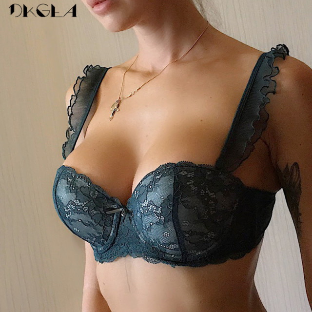 New Top Gather Sexy Bra Lace Embroidery Lingerie Green Brassiere Deep V Push up Bras Women Underwear Cotton Thick A B C Cup 1