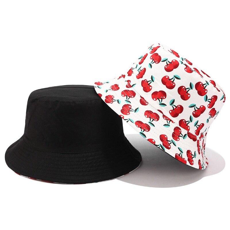 2020 New Fruit Cherry Bucket Hats For Girls Women Two Side Reversible Fisherman Hat Panama Bob Hat Summer Sun Hat