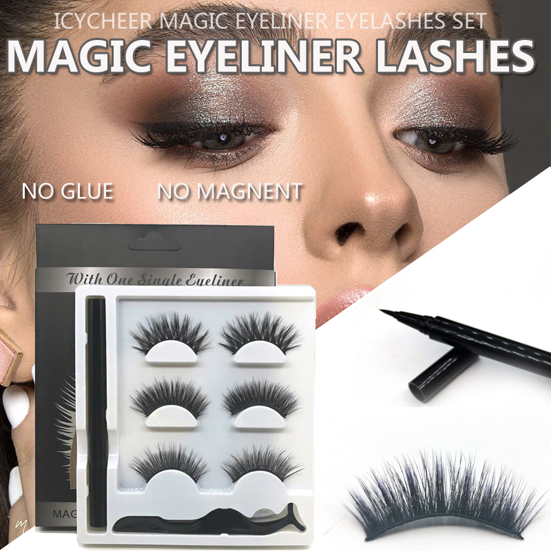NO GLUE NO MAGNET 3D Mink Magic Magnetic Eyeliner Eyelash Curler Natural Thick Long False Eyelashes Set  Waterproof