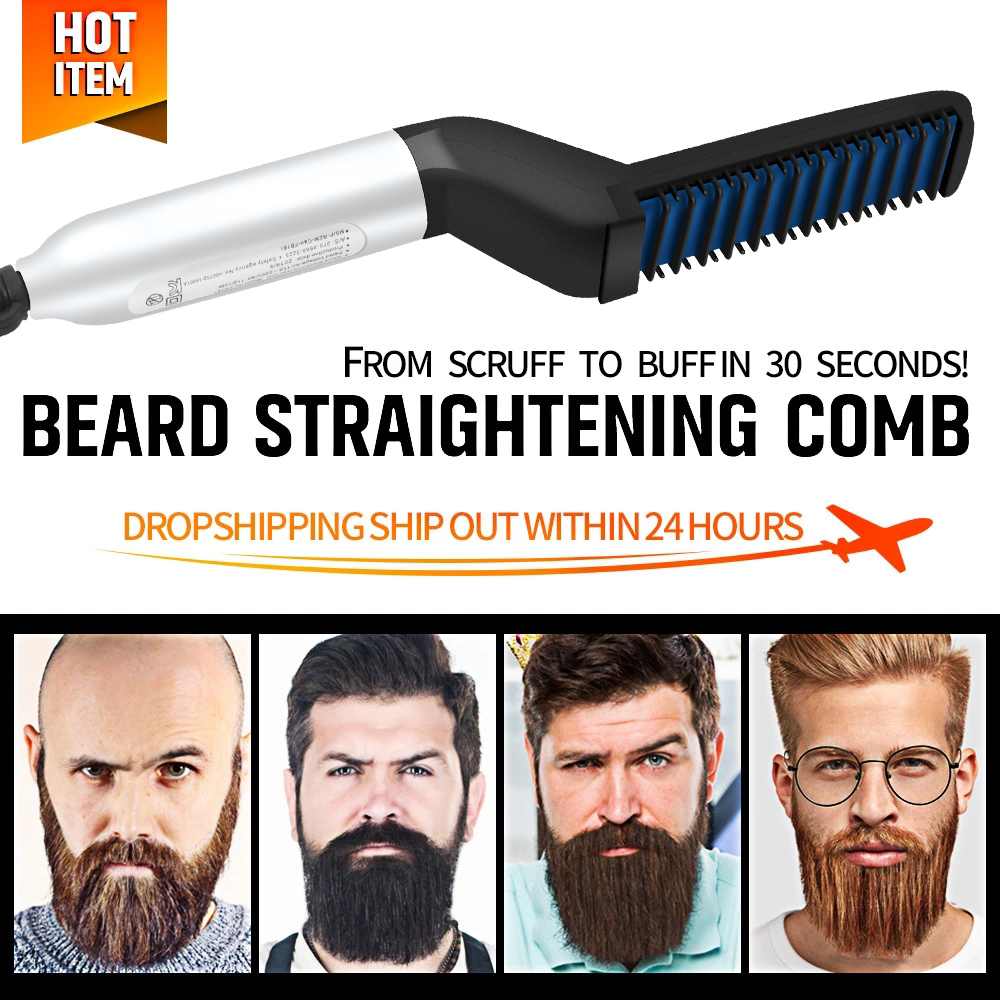 Multifunctional Hair Comb Brush Beard Straightener Brush Hair Straighten Hot Comb Hair Curler Quick Hair Styler For Men