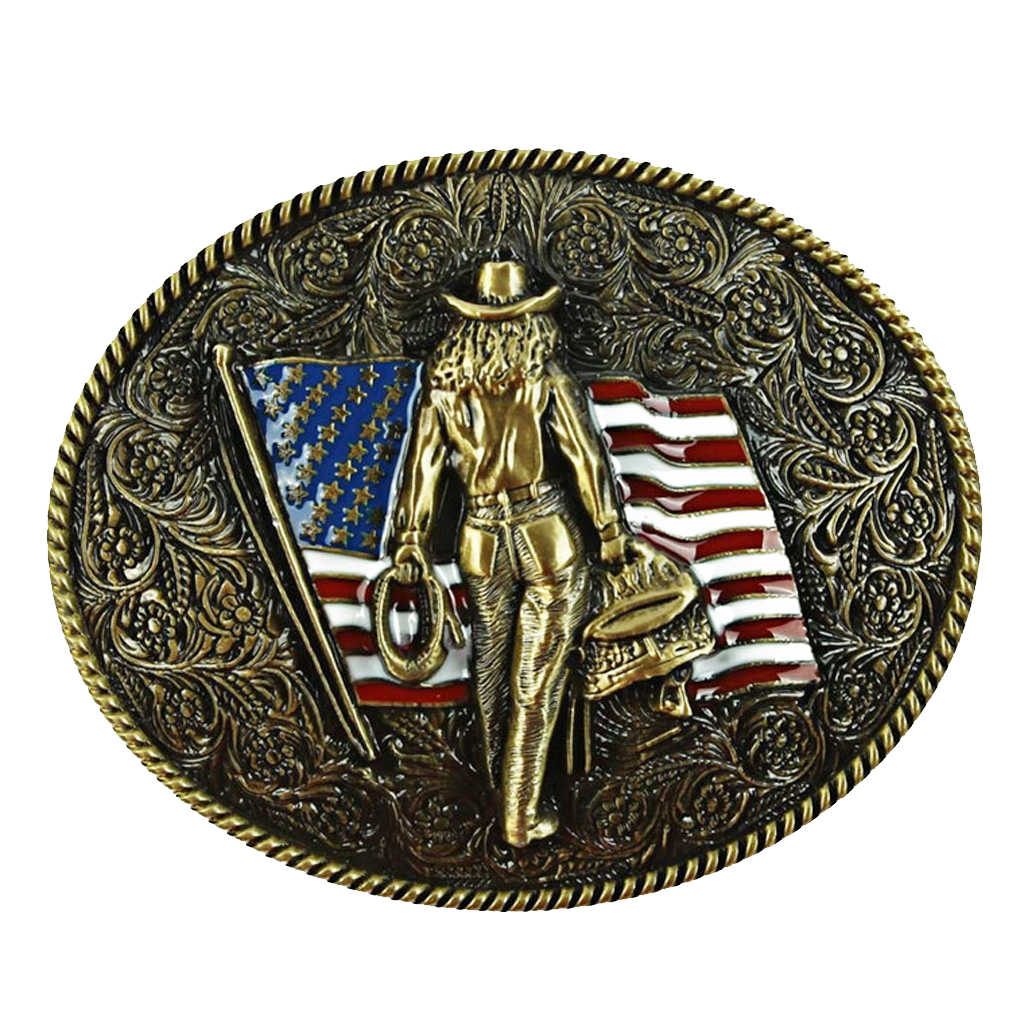 Engraved The Stars And Strips With Knight Bronze Belt Buckle Western Antique Cowboy Style Buckle Vintage