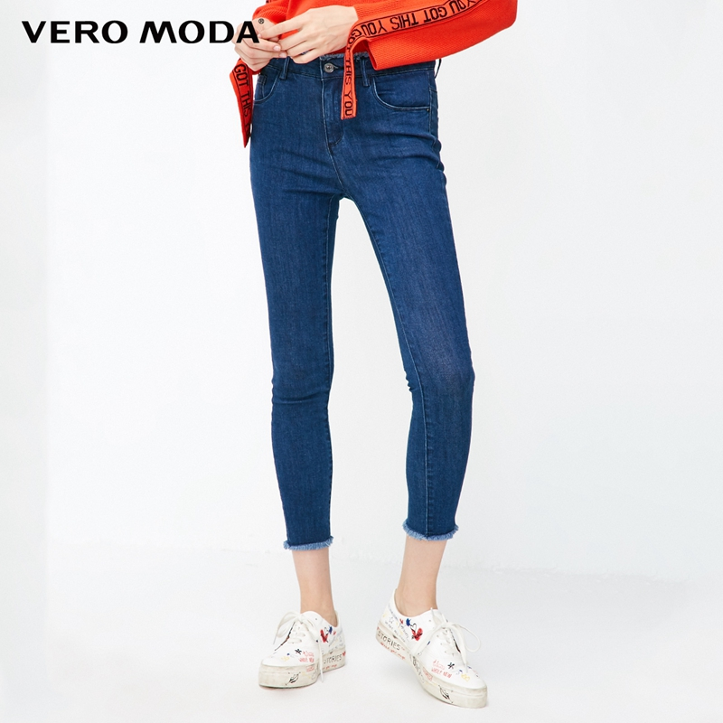 Vero Moda 2019 New Arrivals Slim Fit Raw-edge Cuffs Crop Jeans | 318349565
