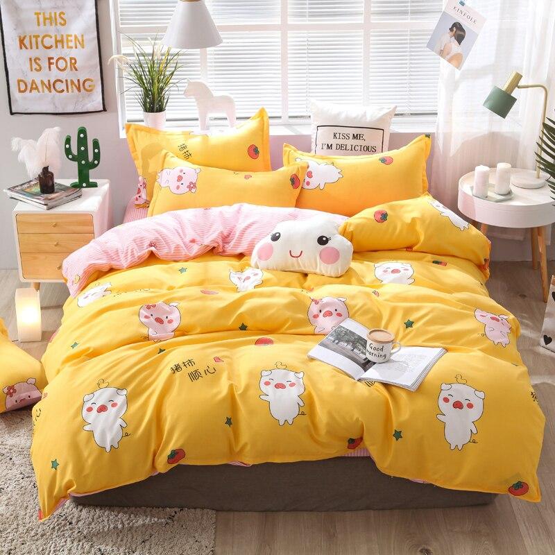 cartoon pig duvet cover Bedding Set Bed clothes duvet cover flat sheet pillowcase single queen king size in Bedding Sets from Home Garden