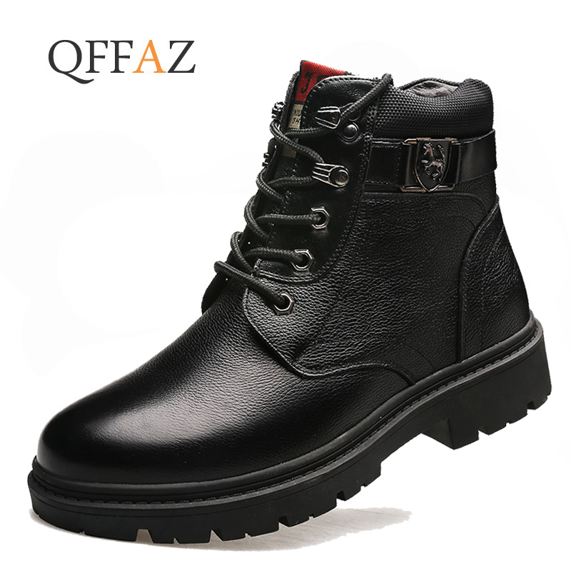 QFFAZ Men Winter Shoes Warm Comfortable Fashion Genuine Leather Snow Boots Waterproof Boots Men's Wool Plush Warm Boots