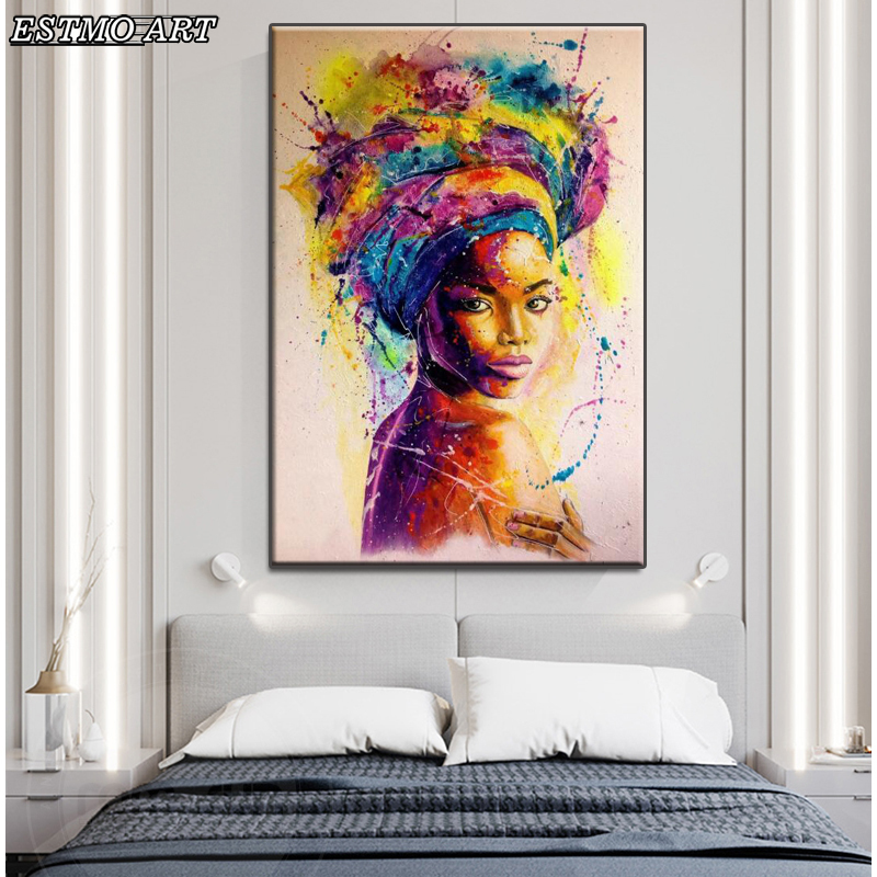 Canvas Wall Art Colorful African Woman Scandinavian Painting Graffiti Art Posters and Prints Black Woman cuadros for Living Room